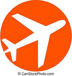 avión, avión, icono
