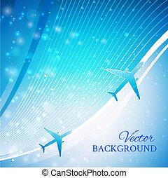 avión azul, plano de fondo