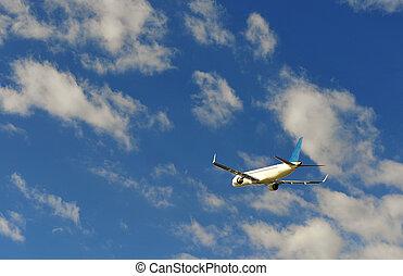 avión azul, vuelo, cielo