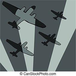 avión, bombardero, searchlights