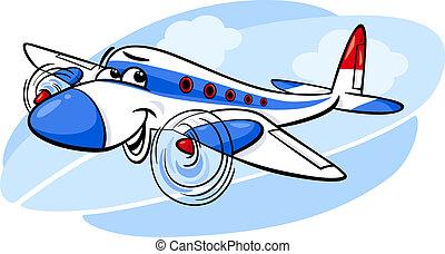 avión, caricatura, ilustración, aire