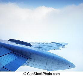 avión, cielo, ala