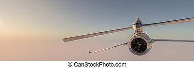 avión, cielo, prototipo, surcar