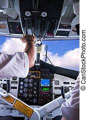 avión, cockpit.