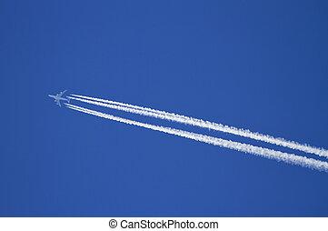 avión, con, condensación, trails.