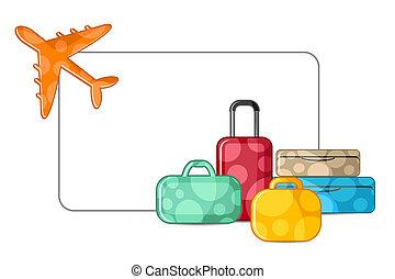 avión, con, equipaje