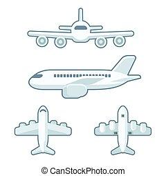 avión, conjunto, caricatura
