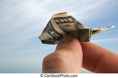 avión, de, dólar