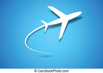 avión, de, toma