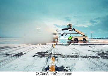 avión, deicing