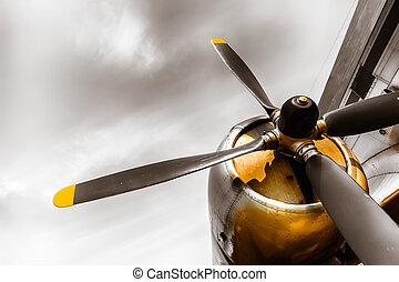 avión del propulsor, viejo, obsoleto