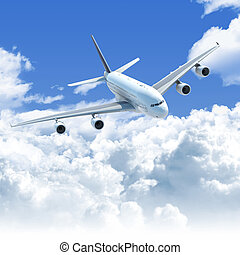 avión, el volar encima, el, nubes, frente, punta la vista