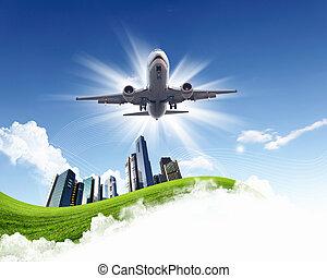 avión, en, azul, cielo nublado