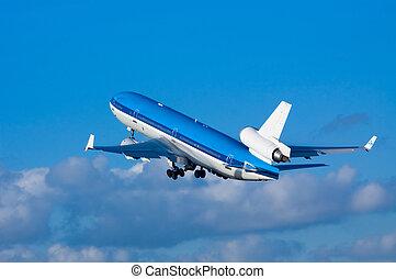 avión, en, despegue
