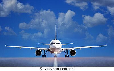 avión, en, pista