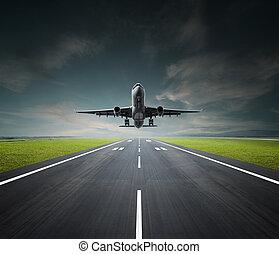 avión, en, un, día nublado