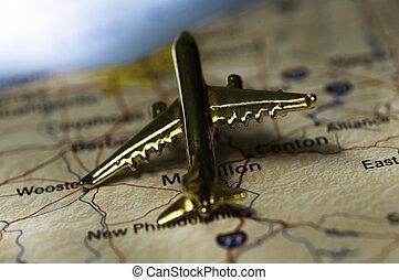 avión, encima, mapa, de, ohio