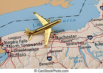 avión, encima, nueva york