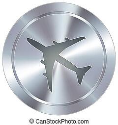 avión, icono, en, industrial, botón