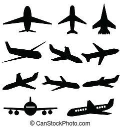 avión, iconos