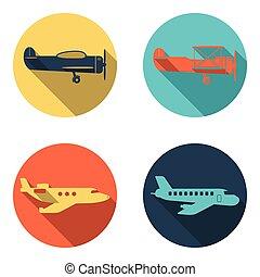 avión, iconos, conjunto, plano, diseño