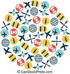 avión, iconos, en, círculo