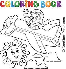 avión, libro colorear, piloto, retro