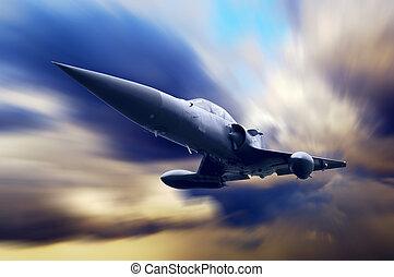 avión militar, en, el, velocidad