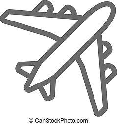 avión, negro, contorno