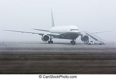 avión, niebla, neblina