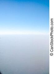 avión, nubes, encima, rastro