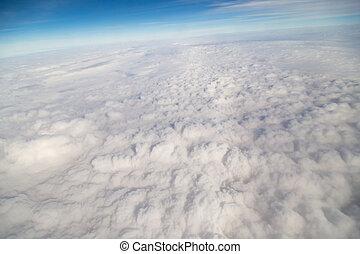 avión, nubes, vista