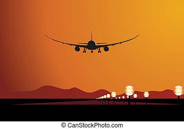 avión, ocaso, aterrizaje