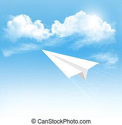 avión, papel, cielo, vector., clouds.
