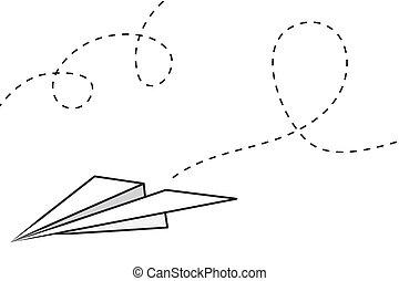 avión, papel