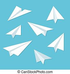 avión papel, conjunto