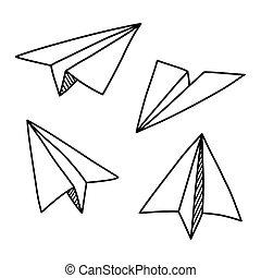 avión papel, doodles