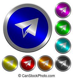 avión papel, luminoso, coin-like, redondo, color, botones