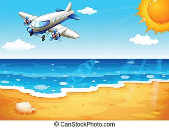 avión, playa