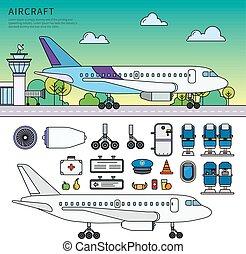 avión, posición, en, el, campo de aviación