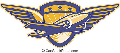 avión propulsor, retro, alas, protector