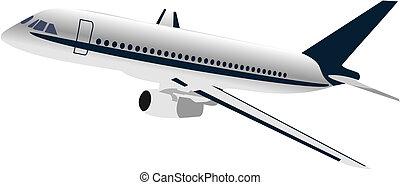avión, realisic, ilustración