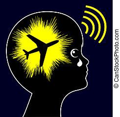 avión, ruido, exposición