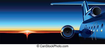 avión, salida del sol
