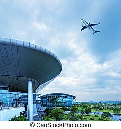 avión, shanghai, airport's, pudong