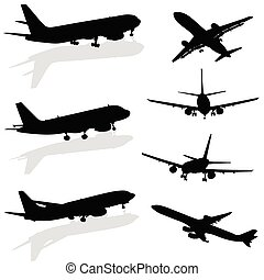 avión, silueta, en, negro, vector
