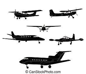 avión, siluetas