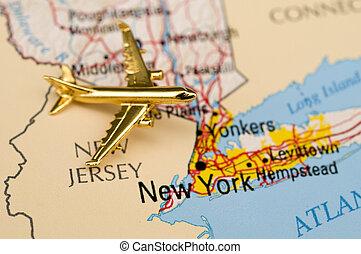 avión, título, a, nueva york