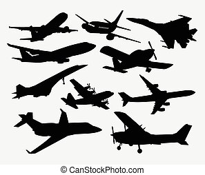 avión, transporte, siluetas