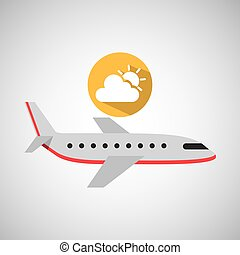 avión, travel., pronóstico meteorológico, nube, sol, icono